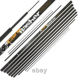 Ngt 11m Full Carbon Carpe Basher Fishing Pole + Spare Top 3 Sections + Sac En Tissu