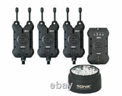 Nouveau Sonik Skx Bite Alarmes & Récepteur 3 Bâtonnets + Lampe Bivy Gratuite Incl Carry Case