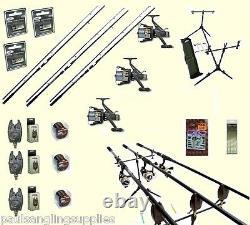 Pêche À La Carpe Set 3 Shakespeare Rods 3 Bobines 3 Alarmes Rod Pod Appât Rigs Crochets