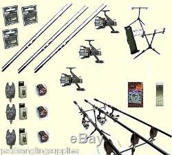 Pêche À La Carpe Set 3 Tiges 3 Bobines 3 Alarmes Rod Pod Bait Rigs Crochets + Plus