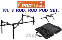 Prologic K1 3 Rod Pod System Goal Post Kit+carry Bag Carp Fishing 3 Rod Rest Set