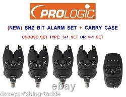 Prologic Snz Bite Alarm Présentation Set + Cas Pour La Carpe Canne À Pêche Pod 3 + 1 4 + 1