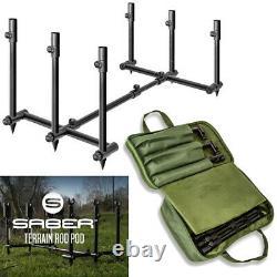 Saber Terrain Pod 2 / 3 Rod Pod Léger Réglable Carpe Fishing Buzz Bar
