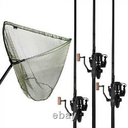 Sonik Vader X Rs 3 Rod Kit 3 X 3lb Carp Rods 8000 Bobines Plus 42 Net Jc0035