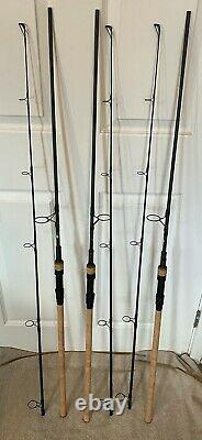 Three Nash Scope Cork 10ft 2.75lb Carp Fishing Rods & Nash Scope Ops 3 Peau De Tige